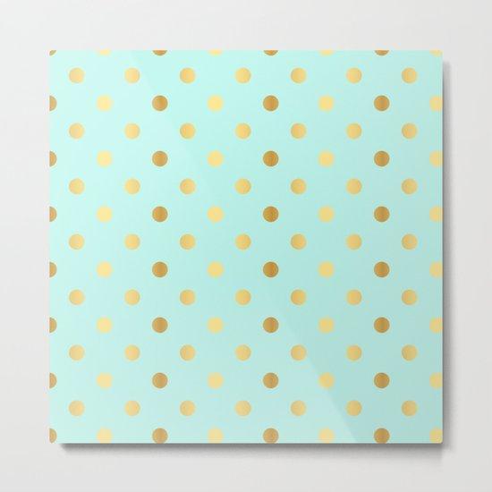 Gold foil glitter polkadots on aqua Metal Print