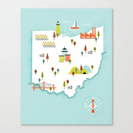 Ohio Map Canvas Print