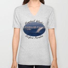 Humpback Whale Calf Breaching Off Surfers Paradise Unisex V-Neck