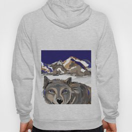 """Lone Wolf"" Paulette Lust's Original, Contemporary, Whimsical, Colorful Art  Hoody"