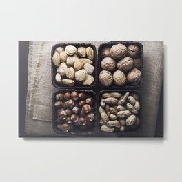 Nuts and almonds on baskets Metal Print