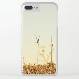 desert with wind turbine in summer Clear iPhone Case