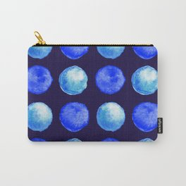 Winter Blue Watercolor Large Dots Pattern Carry-All Pouch