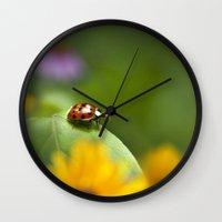 ladybug Wall Clocks featuring Ladybug by Christina Rollo