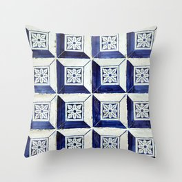 Vintage blue 3D tiles pattern Throw Pillow