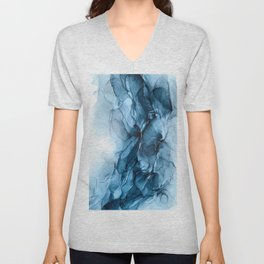 Deep Blue Flowing Water Abstract Painting Unisex V-Neck