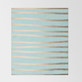 Simply Drawn Stripes White Gold Sands on Succulent Blue Throw Blanket