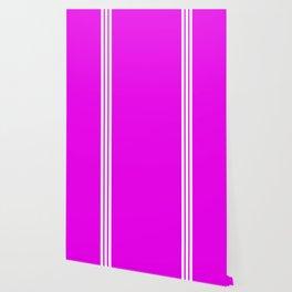 3 White Stripes on Pink Wallpaper