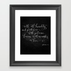 Bearing in Love // White on Black Framed Art Print