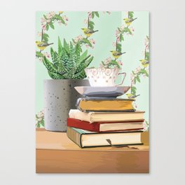 Tea and book love Canvas Print