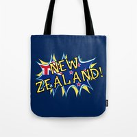 new zealand Tote Bags featuring  New Zealand  by mailboxdisco