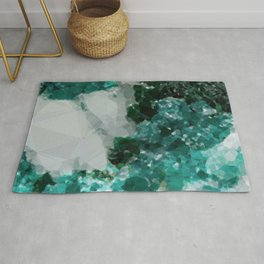 Malachite Low Poly Geometric Triangles Rug