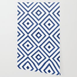 Geometrical modern navy blue watercolor abstract pattern Wallpaper