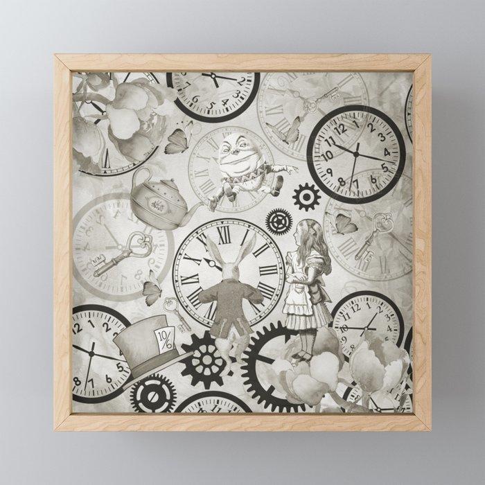Wonderland Time - Vintage Black & White Framed Mini Art Print
