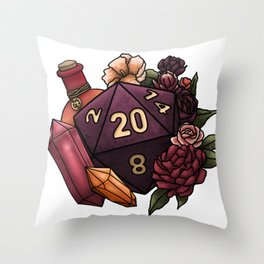 Sorcerer Class D20 - Tabletop Gaming Dice Throw Pillow
