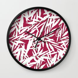 white leave in red background Wall Clock