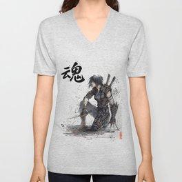 Calligraphy SOUL Ghost in the Shell Motoko Ninja Unisex V-Neck