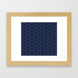 Japanese Blue Wave Seigaiha Indigo Super Moon Pattern Framed Art Print