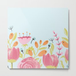English Garden Floral Border Metal Print