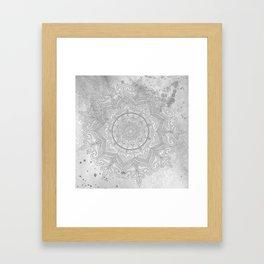 gray splash mandala swirl boho Framed Art Print