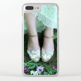 Waiting Amongst the Sweet Peas Clear iPhone Case