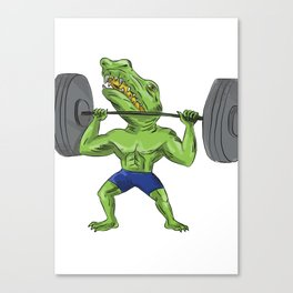 Sobek Weightlifter Lifting Barbell Caricature Canvas Print