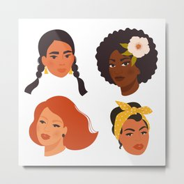 Different ethnic faces women Metal Print