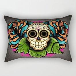 Sugar Skull and Roses - Day of the Dead Calavera Rectangular Pillow