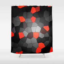 red and black mosaic Shower Curtain