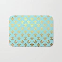 Royal gold ornaments on aqua turquoise background Bath Mat