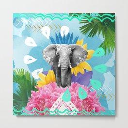 Elephant Festival - Blue Metal Print