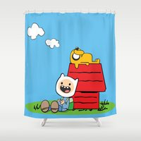 peanuts Shower Curtains featuring Peanuts time by geminiska