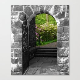 Garden Entryway Selective Black & White Nature / Floral / Botanical Photograph Canvas Print