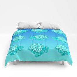 Teal Sea Turtles Blue & Aqua Pattern Comforters