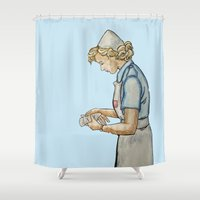 nurse Shower Curtains featuring Vintage Nurse by Bryony Ogilvie
