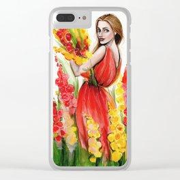 Hollyhock Fields Clear iPhone Case