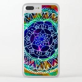 Colorwheel Mandala Teal Clear iPhone Case