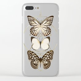 butterflies and gold geometry Clear iPhone Case