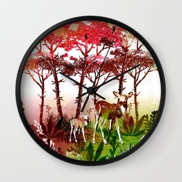 Deer Forest Watercolor Design Wall Clock