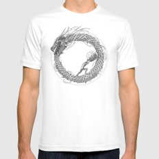 The Ouroboros / Uroboros and Sisyphus Mens Fitted Tee MEDIUM White