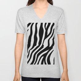 Monochrome Zebra Stripe Print Unisex V-Neck
