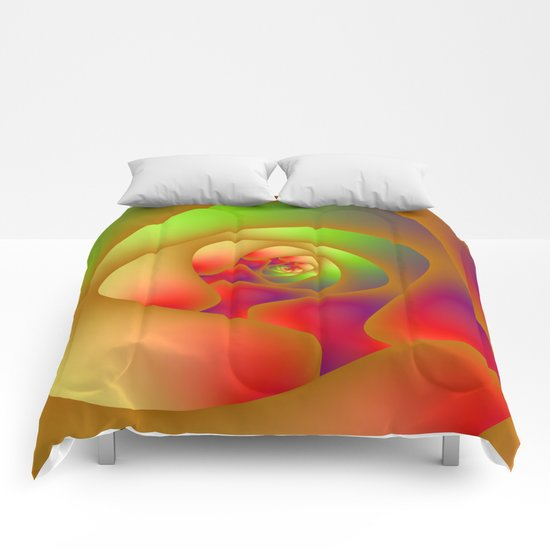 Green and Red Spiral Labyrinth Comforters