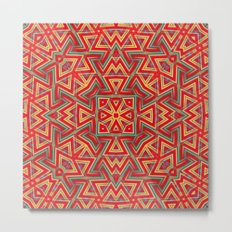 Aztec Sunshine Pattern Metal Print