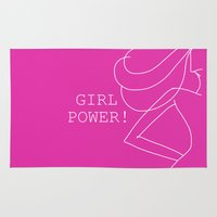 girl power Area & Throw Rugs featuring Girl Power - Art by Ning Watson