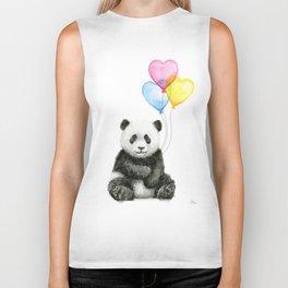 Panda Baby with Heart-Shaped Balloons Whimsical Animals Nursery Decor Biker Tank