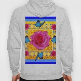 CERULEAN BLUE BUTTERFLIES SPRING PINK ROSES Hoody