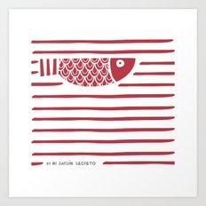 PIXE 1 (dark red) Art Print