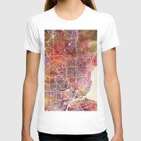 detroit T-shirts featuring Detroit by MapMapMaps.Watercolors