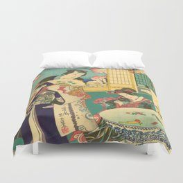 Spring Outing In A Villa Diptych #1 by Toyohara Kunichika Duvet Cover