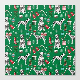 Dalmatian dog breed christmas holiday presents candy canes dalmatians dogs Canvas Print